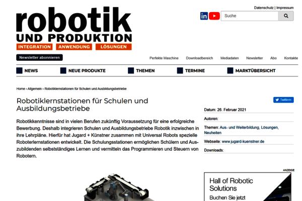 Im Februar 2021 berichtet das Fachmagazin Robotik und Produktion über unsere Lernstationen und das Thema Robotik in Schulen und Ausbildungsbetrieben.