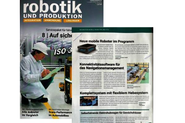 Im September 2021 berichtet das Fachmagazin Robotik und Produktion in seiner Printausgabe über die neuen MiR Roboter Modelle bei J+K.