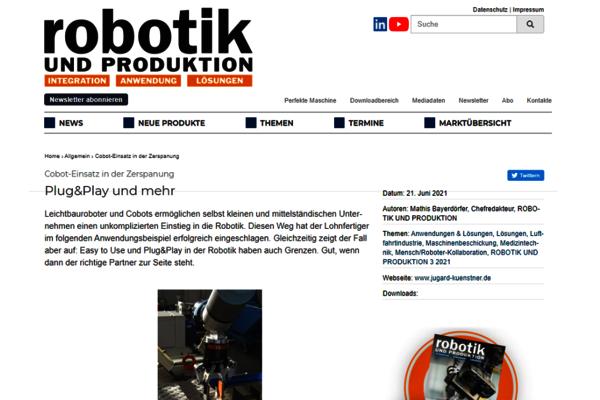 Im Juni 2021 berichtet das Fachmagazin Robotik und Produktion online über den Einsatz von Universal Robots Cobots in der Zerspanung.