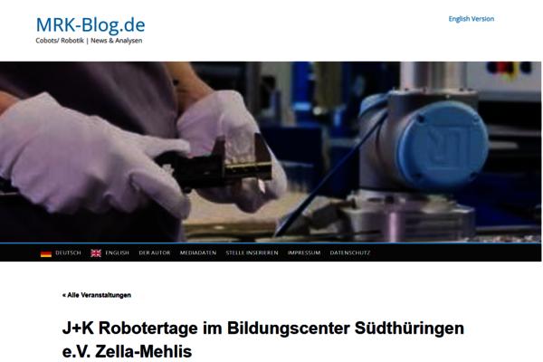 Im Oktober 2021 berichtet der MRK-Blog über die bevorstehenden Robotertage in Zella-Mehlis mit Universal Robots, Mobile Industrial Robots, Global AGV, etc.