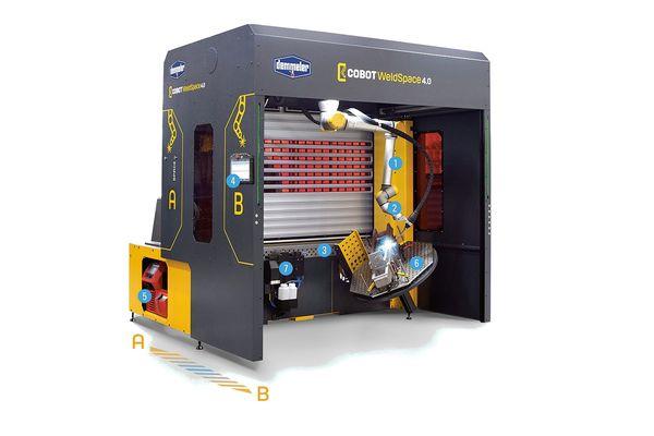 Schweißzelle Cobot WeldSpace 4.0 von Demmeler eignet sich für kleine und mittelständische Unternehmen und kann schnell in Betrieb genommen werden.