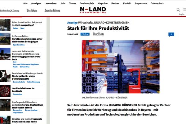 Im Juni 2019 berichtet die Regionalzeitung Der Bote online über JUGARD+KÜNSTNER.