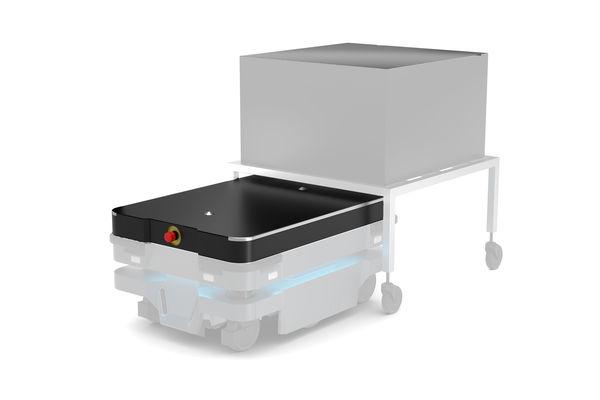 Der MiR Shelf Carrier 250 TM ist eine Verankerungsvorrichtung, die zum Verriegeln und Transportieren von Ablagen verwendet wird