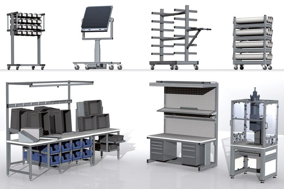Arbeitsplatzsysteme, Transportwagen, Gestelle, Roboterzellen